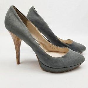 🍍Zara Grey Suede Platform Pointy Toe Stacked Heel